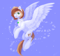 Size: 2057x1911 | Tagged: safe, artist:nightskrill, oc, oc only, oc:coffee cream, pegasus, pony, flying, jewelry, male, necklace, solo, spread wings, stallion, wings