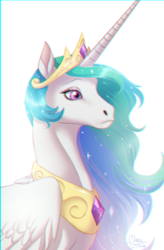 Size: 600x917 | Tagged: alicorn, artist:badass-doctor, chromatic aberration, ethereal mane, female, hoers, jewelry, mare, necklace, pony, princess celestia, regalia, safe, simple background, solo, sparkles, white background