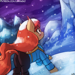 Size: 750x750 | Tagged: artist:lumineko, celeste, earth pony, madeline, mountain, night, pony, safe, smiling, snow, solo, video game