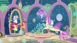 Size: 1920x1080 | Tagged: safe, screencap, apple bloom, ocean flow, scootaloo, sweetie belle, terramar, earth pony, pony, seapony (g4), surf and/or turf, cutie mark crusaders, discovery family logo, female, hug, male, mother and son, sea-mcs, seaponified, seapony apple bloom, seapony scootaloo, seapony sweetie belle, species swap, underwater