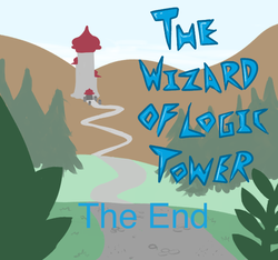 Size: 640x600 | Tagged: artist:ficficponyfic, cyoa, cyoa:the wizard of logic tower, end credits, ending, forest, mountain, safe, simple background, stone road, story included, text, tower