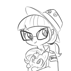 Size: 1650x1650 | Tagged: 20% cooler, artist:tjpones, black and white, brony, cute, equestria girls, female, glasses, grayscale, hat, hoofbump, looking at you, monochrome, plushie, safe, sci-twi, simple background, smiling, solo, sunset shimmer, twiabetes, twilight sparkle, white background