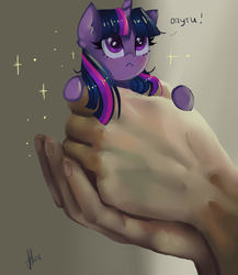 Size: 2000x2300 | Tagged: safe, artist:xjenn9, twilight sparkle, human, pony, unicorn, :<, blushing, cute, cyrillic, female, hand, holding a pony, in goliath's palm, looking up, mare, micro, realistic, russian, solo focus, sparkles, starry eyes, tiny ponies, translated in the comments, twiabetes, unicorn twilight, wingding eyes
