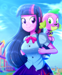 Size: 1784x2163 | Tagged: alicorn, artist:the-butch-x, backpack, best waifu, breasts, busty twilight sparkle, canterlot high, crepuscular rays, cute, dog, equestria girls, equestria girls (movie), redraw, safe, signature, spike, spike the dog, twiabetes, twilight sparkle, twilight sparkle (alicorn), waifu
