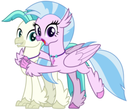 Size: 3700x3200 | Tagged: safe, artist:cheezedoodle96, silverstream, terramar, classical hippogriff, hippogriff, school daze, surf and/or turf, .svg available, brother and sister, cute, diastreamies, duo, female, happy, hug, looking at you, male, raised hoof, siblings, simple background, smiling, svg, terrabetes, transparent background, vector