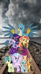 Size: 862x1536   Tagged: safe, editor:php77, gallus, ocellus, sandbar, sci-twi, silverstream, smolder, sunset shimmer, twilight sparkle, changedling, changeling, classical hippogriff, dragon, earth pony, griffon, hippogriff, pony, equestria girls, equestria girls series, season 8, clothes, dragoness, equestria girls in real life, female, geode of empathy, geode of telekinesis, irl, magical geodes, phone wallpaper, photo, ponies in real life, wallpaper