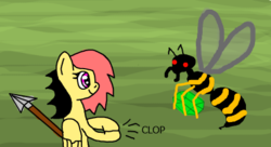 Size: 455x248 | Tagged: artist:platinumdrop, code pony, emerald, female, flockmod, hornet, mare, oc, oc only, oc:rose black, pegasus, pony, safe, spear, weapon