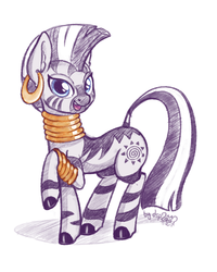 Size: 1280x1600 | Tagged: artist:dsp2003, colored sketch, cute, digital art, female, looking at you, mare, open mouth, raised hoof, safe, simple background, sketch, solo, white background, zebra, zecora, zecorable