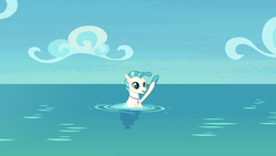 Size: 1920x1080 | Tagged: safe, screencap, terramar, seapony (g4), surf and/or turf, male, solo, terrabetes, waving