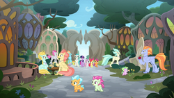Size: 1920x1080 | Tagged: safe, screencap, apple bloom, scootaloo, sweetie belle, terramar, twilight sparkle, alicorn, classical hippogriff, hippogriff, pony, surf and/or turf, background pony, cutie mark crusaders, discovery family logo, fledgeling, hippogriffia, mount aris, twilight sparkle (alicorn)