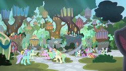 Size: 1920x1080 | Tagged: safe, screencap, apple bloom, scootaloo, sweetie belle, terramar, twilight sparkle, alicorn, classical hippogriff, hippogriff, surf and/or turf, city, crowd, cutie mark crusaders, discovery family logo, hippogriffia, mount aris, tree, twilight sparkle (alicorn)