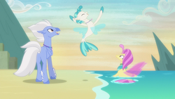 Size: 1920x1080 | Tagged: safe, screencap, ocean flow, sky beak, terramar, classical hippogriff, hippogriff, seapony (g4), surf and/or turf, discovery family logo, family, father and son, female, male, mother and son