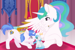 Size: 1024x688 | Tagged: safe, artist:leanne264, princess celestia, oc, oc:blue guardian, oc:skyfall, pegasus, pony, unicorn, baby, baby pony, boop, colt, female, filly, male, noseboop, offspring, parent:princess celestia, parent:royal guard, parents:canon x oc, parents:guardlestia