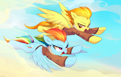 Size: 6698x4263 | Tagged: safe, artist:maren, rainbow dash, spitfire, pegasus, pony, absurd resolution, bomber jacket, clothes, cloud, commission, duo, female, flying, jacket, looking at each other, mare, open mouth, race, smiling, spread wings, wings