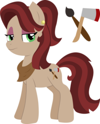 Size: 1024x1270 | Tagged: artist:saukapie, earth pony, female, mare, oc, oc:mahogany redwood, offspring, parent:cherry jubilee, parent:mud briar, pony, safe, simple background, solo, transparent background