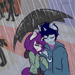 Size: 5000x5000 | Tagged: absurd res, anthro, artist:wickedsilly, couple, cute, explicit source, eyes closed, female, male, oc, oc:sleepy head, oc:wicked silly, oc x oc, rain, safe, shipping, straight, umbrella, wickedsleepy