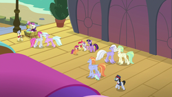 Size: 1280x720 | Tagged: safe, screencap, all aboard, apple bloom, flush typhoon, scootaloo, steamer, sweetie belle, twilight sparkle, alicorn, classical hippogriff, earth pony, hippogriff, pegasus, pony, unicorn, surf and/or turf, cart, conductor, cutie mark crusaders, female, filly, fledgeling, hippogriffia, male, mare, raised hoof, stallion, train conductor, train station, twilight sparkle (alicorn), unnamed hippogriff