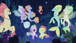 Size: 1280x720   Tagged: safe, screencap, aestuarium, cotton shores, papaya bay, salmon chiton, scootaloo, wind storm, seapony (g4), surf and/or turf, baby seapony (g4), bongos, cute, cutealoo, dancing, drums, musical instrument, sea-mcs, seapony scootaloo, underwater