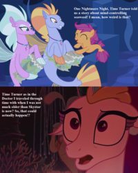 Size: 1024x1280   Tagged: safe, edit, edited screencap, screencap, cotton shores, princess skystar, queen novo, salmon chiton, scootaloo, wind storm, seapony (g4), my little pony: the movie, surf and/or turf, background sea pony, comic, cropped, doctor who, drums, fury from the deep, implied doctor whooves, musical instrument, screencap comic, sea-mcs, seaponified, seapony scootaloo, seaquestria, species swap, text