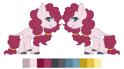 Size: 1198x667 | Tagged: safe, artist:sweethearttarot, pinkie pie, prince rutherford, oc, hybrid, yakony, color palette, commission, custom, interspecies offspring, irl, next generation, offspring, parent:pinkie pie, parent:prince rutherford, parents:pinkieford, photo, reference sheet, simple background, solo, toy, transparent background