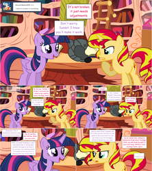 Size: 1284x1444 | Tagged: alicorn, artist:hakunohamikage, ask, ask-princesssparkle, golden oaks library, headset, pony, safe, sunset shimmer, tumblr, twilight sparkle, twilight sparkle (alicorn)