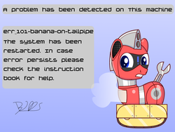 Size: 2000x1500 | Tagged: artist:bugatti2005, error message, oc, oc:trackhead, original species, pony, robot, robot pony, safe, signature, simple background, solo, steam, text, wheelpone