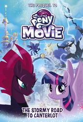 Size: 1688x2475 | Tagged: safe, storm king, tempest shadow, twilight sparkle, alicorn, pony, unicorn, my little pony: the movie, the stormy road to canterlot, book cover, canterlot, cover, female, happy, implied princess celestia, implied princess luna, mare, prequel, spread wings, staff, staff of sacanas, tribute, twilight sparkle (alicorn), wings