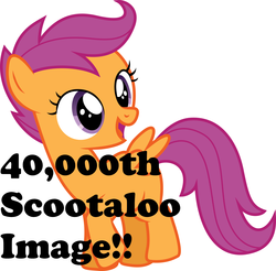 Size: 1600x1573 | Tagged: safe, scootaloo, pegasus, pony, best pony, cutie mark crusaders, derpimilestone, female, filly, get, milestone, missing cutie mark, solo