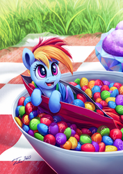 Size: 851x1200 | Tagged: safe, artist:tsitra360, rainbow dash, pegasus, pony, candy, cute, dashabetes, food, happy, ice cream, micro, open mouth, picnic blanket, ponies in food, skittles, solo, taste the rainbow, tiny ponies