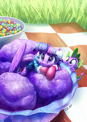 Size: 851x1200 | Tagged: safe, artist:tsitra360, spike, twilight sparkle, alicorn, dragon, pony, baby, baby dragon, biting, bowl, candy, clothes, cute, daaaaaaaaaaaw, earmuffs, eating, female, food, grass, happy, horn, ice cream, jacket, male, mare, micro, mittens, picnic blanket, ponies in food, signature, skittles, smiling, spikabetes, tiny ponies, twiabetes, twilight sparkle (alicorn), wings