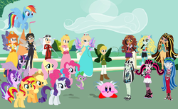 Size: 2353x1449 | Tagged: safe, artist:pupkinbases, artist:selenaede, artist:user15432, applejack, fluttershy, pinkie pie, rainbow dash, rarity, spike, starlight glimmer, sunset shimmer, twilight sparkle, alicorn, dragon, earth pony, fairy, human, hylian, pegasus, pony, unicorn, vampire, werewolf, zombie, equestria girls, barely eqg related, barely pony related, bayonetta, bayonetta (character), bayonetta 2, bodysuit, butterfly wings, clawdeen wolf, cleo de nile, clothes, crossover, crown, cute, cute little fangs, dracula, draculaura, dress, ear piercing, earring, egyptian, equestria girls style, equestria girls-ified, fairies, fairies are magic, fairy wings, fangs, frankenstein, frankie stein, ghoulia yelps, glasses, gloves, gown, hasbro, hasbro studios, hasbro vs mattel, jeanne, jewelry, kirby, kirby (character), lagoona blue, link, mane eight, mane seven, mane six, mattel, monster, monster high, mummy, nintendo, piercing, platinum games, ponyville, princess daisy, princess peach, princess pinkie pie, princess twipeach, raripeach, regalia, rosalina, sea creature, sea monster, sega, shoes, super mario bros., super mario galaxy, super smash bros., team little angels, the legend of zelda, the legend of zelda: the wind waker, toon link, twilight sparkle (alicorn), vegan, vegetarian, wings