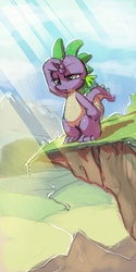 Size: 836x1672 | Tagged: safe, artist:gsphere, spike, dragon, cliff, looking at something, male, mountain, solo, sunlight