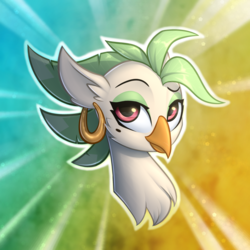 Size: 3000x3000 | Tagged: safe, artist:conniethecasanova, artist:starfall-spark, edit, captain celaeno, parrot pirates, my little pony: the movie, beauty mark, bust, celaenobetes, cute, dreamworks face, ear piercing, earring, female, gradient background, jewelry, looking at you, missing accessory, piercing, pirate, portrait, simple background, solo