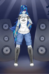 Size: 469x701 | Tagged: anthro, artist:enginegear, dj pon-3, safe, solo, vinyl scratch