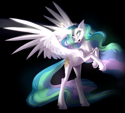 Size: 2843x2581 | Tagged: safe, artist:mp-printer, princess celestia, alicorn, black background, female, glowing horn, horn, magic, mare, open mouth, rearing, simple background, solo, spread wings, white eyes, wings
