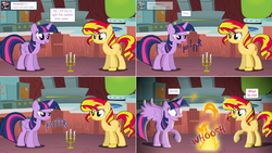 Size: 2564x1444 | Tagged: alicorn, artist:hakunohamikage, ask, ask-princesssparkle, candle, fire, pony, runes, safe, sunset shimmer, tumblr, twilight's lab, twilight sparkle, twilight sparkle (alicorn)
