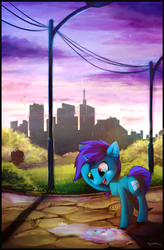 Size: 2247x3418 | Tagged: safe, artist:breakdream, oc, oc only, pony, unicorn, city, cityscape, heterochromia, microsoft, ponified, puddle, reflection, solo, windows