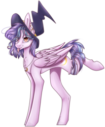Size: 1550x1875 | Tagged: artist:oshirochi03, female, hat, mare, oc, oc:emily, pegasus, pony, safe, simple background, solo, tongue out, transparent background, witch hat