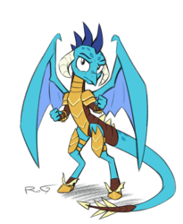 Size: 1193x1454 | Tagged: armor, artist:quadrog, dragon, dragon armor, dragoness, female, looking at you, princess ember, safe, simple background, solo, white background