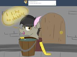 Size: 1500x1121 | Tagged: artist:slushnstuff, ask, ask-clover-the-clever, bucket, discord, safe, solo, tumblr, younger
