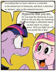 Size: 2086x2642 | Tagged: safe, artist:pony-berserker, princess cadance, twilight sparkle, alicorn, pony, dialogue, duo, meme, ponified meme, simple background, speech bubble, will you fight? or will you perish like a dog?, yellow background