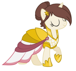 Size: 1024x956 | Tagged: safe, artist:cindydreamlight, oc, oc only, oc:annabelle, pony, unicorn, fake it 'til you make it, clothes, dress, eyes closed, female, mare, raised hoof, simple background, solo, transparent background, warrior of inner strength