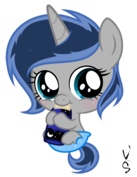 Size: 3129x4033 | Tagged: artist:velveagicsentryyt, baby, baby bottle, baby pony, cute, diaper, female, filly, oc, ocbetes, oc:lunais, oc only, offspring, parent:king sombra, parent:princess luna, parents:lumbra, pony, safe, simple background, solo, transparent background, unicorn