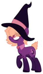 Size: 1435x2431 | Tagged: artist:crystalponyart7669, earth pony, female, hat, mare, oc, oc:dusk aurora, oc only, pony, safe, short tail, simple background, solo, transparent background, witch hat