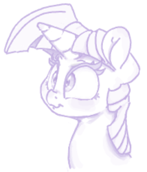 Size: 577x673 | Tagged: artist:fatalqueef, flockmod, monochrome, safe, sketch, solo, twilight sparkle