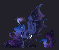 Size: 1997x1713 | Tagged: alicorn, alternate design, artist:alissa1010, bat wings, classical unicorn, cloven hooves, curved horn, cutie mark, dappled, ethereal mane, eyeshadow, fangs, female, four wings, freckles, galaxy mane, glowing horn, gray background, hybrid wings, jewelry, large wings, leonine tail, looking at you, makeup, mare, multiple wings, pony, princess luna, redesign, regalia, safe, seraph, seraphicorn, simple background, slit eyes, smiling, solo, spread wings, starry eyes, starry mane, unshorn fetlocks, wingding eyes, wings