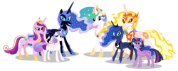 Size: 1636x656 | Tagged: safe, artist:watermelon changeling, derpibooru exclusive, daybreaker, nightmare moon, princess cadance, princess celestia, princess flurry heart, princess luna, twilight sparkle, alicorn, pony, looking at you, ms paint, older, older flurry heart, simple background, twilight sparkle (alicorn), white background