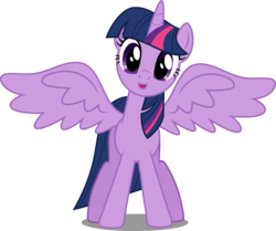 Size: 7839x6552 | Tagged: safe, artist:decprincess, twilight sparkle, alicorn, pony, school daze, .svg available, :o, absurd resolution, cute, female, looking at you, mare, open mouth, simple background, smiling, solo, spread wings, transparent background, twiabetes, twilight sparkle (alicorn), vector, wings