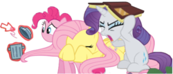 Size: 500x214 | Tagged: safe, edit, fluttershy, pinkie pie, rarity, dragonshy, look before you sleep, magic duel, amputation, book, covering ears, covering eyes, cursor, simple background, transparent background, trash can, trio