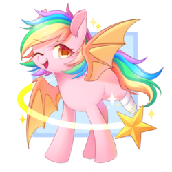 Size: 894x894 | Tagged: safe, artist:leafywind, oc, oc only, oc:paper stars, bat pony, pony, abstract background, amputee, bandage, bat pony oc, bat wings, colored pupils, colored wings, cute, cute little fangs, ear fluff, fangs, female, happy, looking at you, mare, missing cutie mark, ocbetes, one eye closed, open mouth, rainbow hair, rainbow tail, simple background, smiling, solo, spread wings, starry eyes, stars, transparent background, wingding eyes, wings, wink